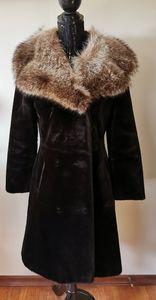 Borglaska For Lord & Taylor Plush Fur Collar Coat